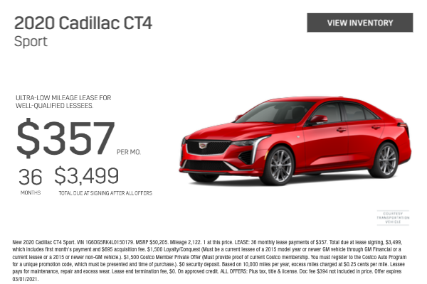 2020 Cadillac CT4 Sport Lease Offer for $357