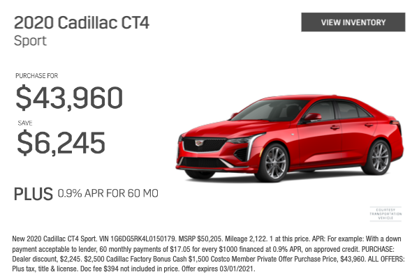 2020 Cadillac CT4 Sport Purchase for $43,960