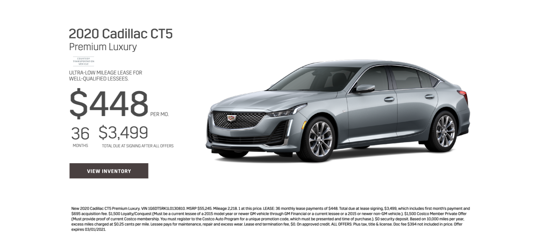 2020 Cadillac CT5 Premium Luxury Lease Offer for $448