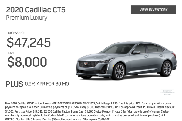 2020 Cadillac CT5 Premium Luxury Purchase for $47,245