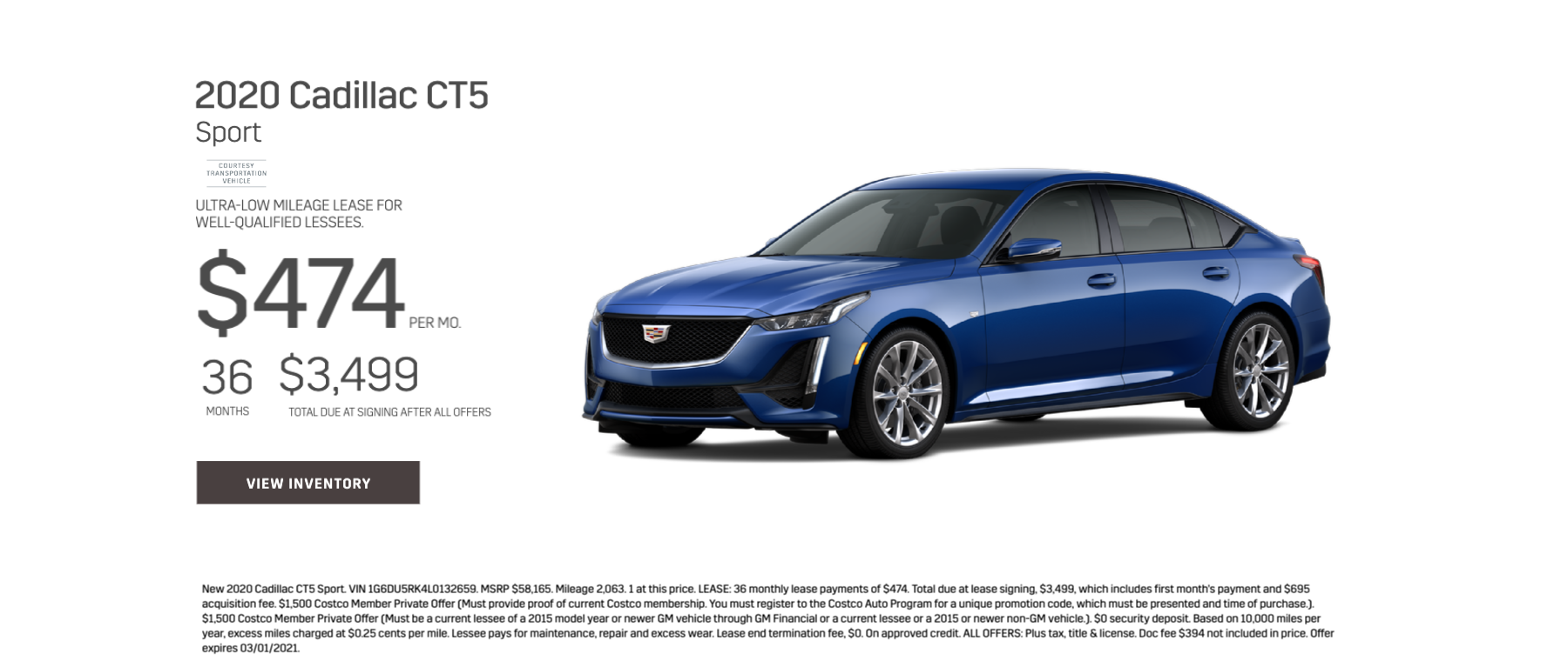 2020 Cadillac CT5 Sport Lease Offer for $474