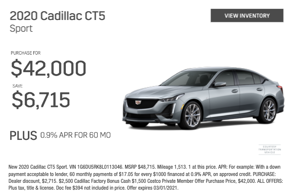 2020 Cadillac CT5 Sport Purchase for $42,000