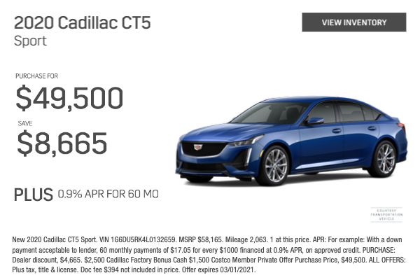 2020 Cadillac CT5 Sport Purchase for $49,500