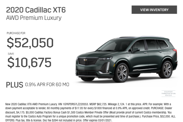 2020 Cadillac XT6 AWD Premium Luxury Purchase for $52,050
