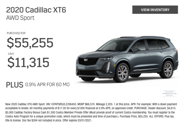 2020 Cadillac XT6 AWD Sport Purchase for $55,255