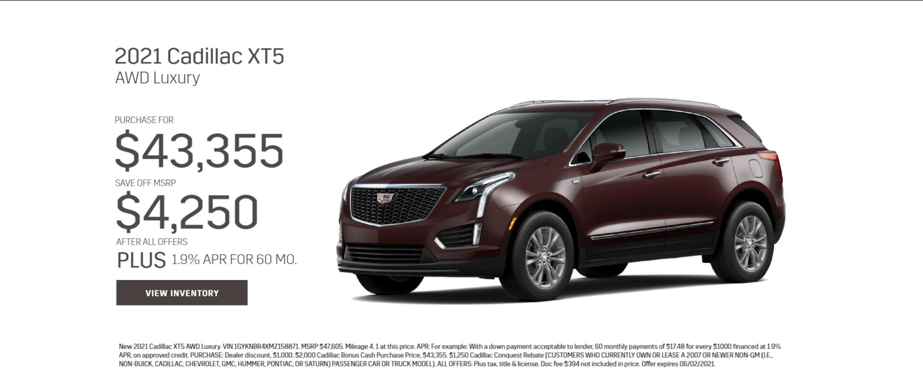2021 Cadillac XT5 Purchase