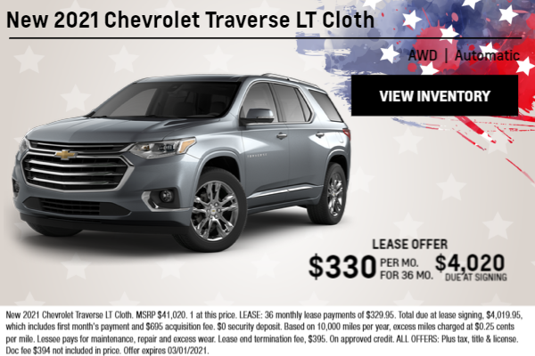 New 2021 Chevrolet Traverse LT Cloth