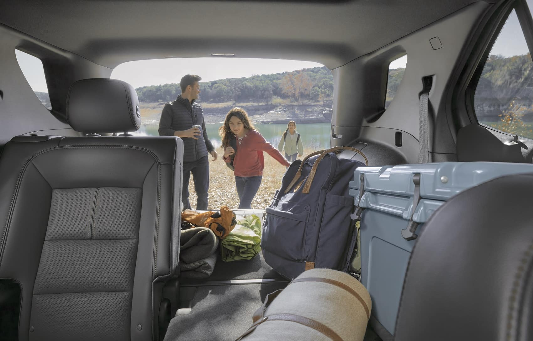2022 Chevy Equinox cabin view from front seat with tailgate open