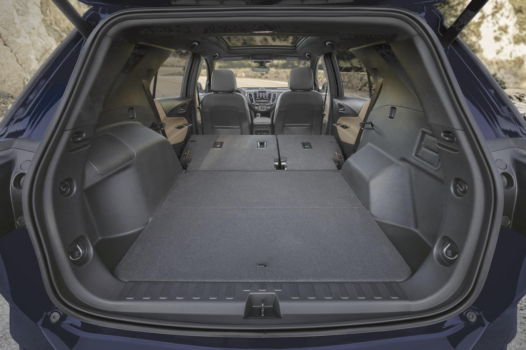 2022 Chevy Equinox cabin with rear seats folded