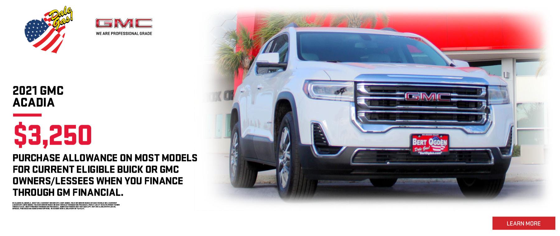 2021 GMC Acadia $3,250 Purchase Allowance | Bert Ogden Buick GMC | Edinburg, TX