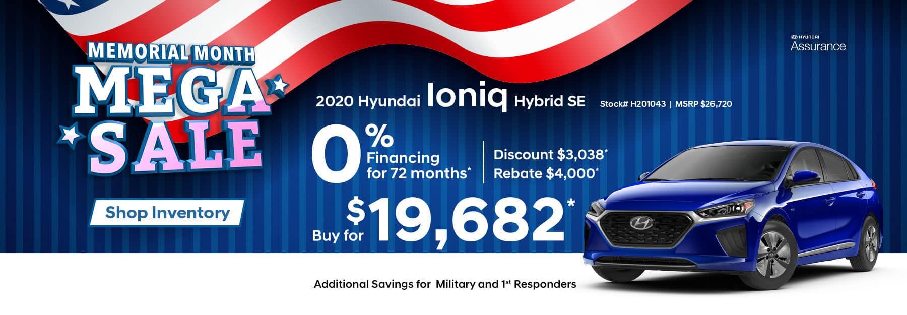 2020 Ioniq – Memorial Month Mega Sale