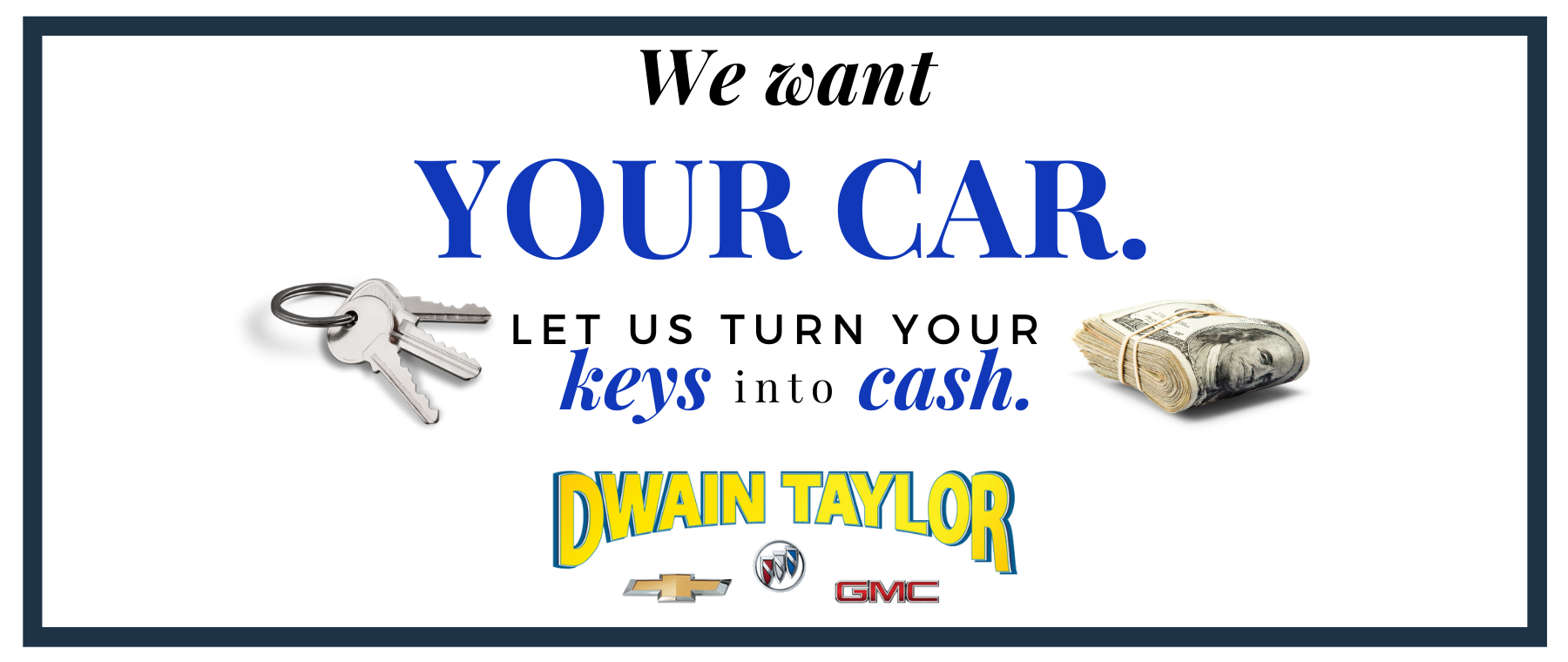 Slide We want your car