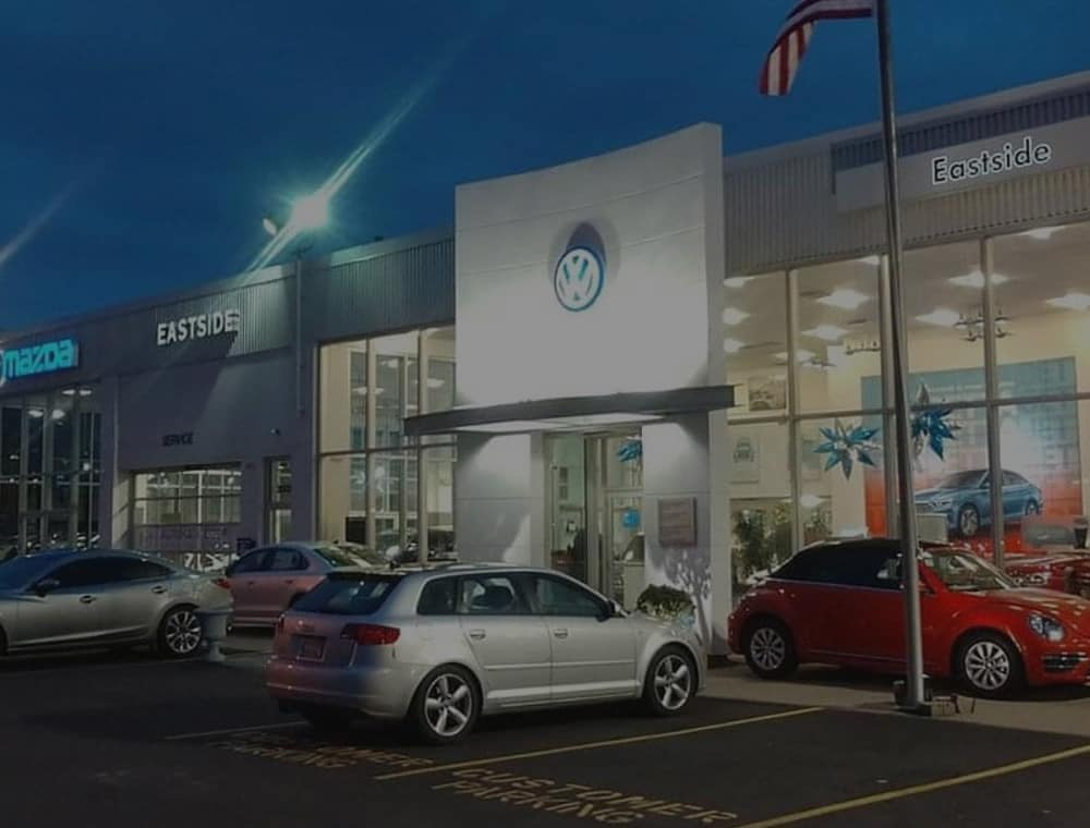 Front view of the Eastside Mazda VW dealership