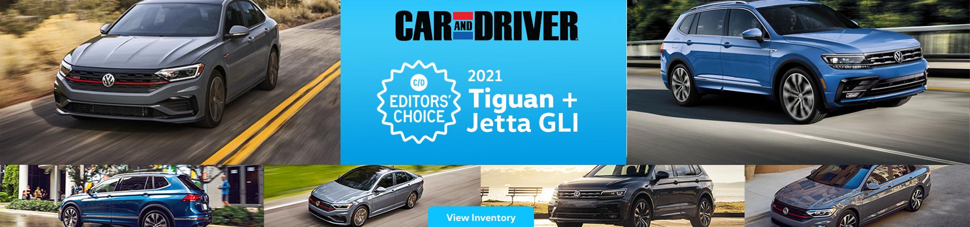 Car and Driver_2021 Tiguan and Jetta GLI UPDATE 1920 x 450