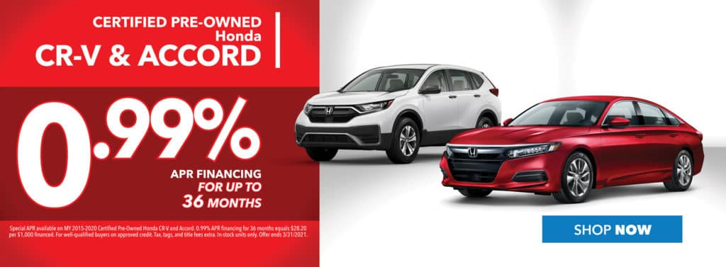 Financing on Certified Pre-owned Honda CR-V & Accord