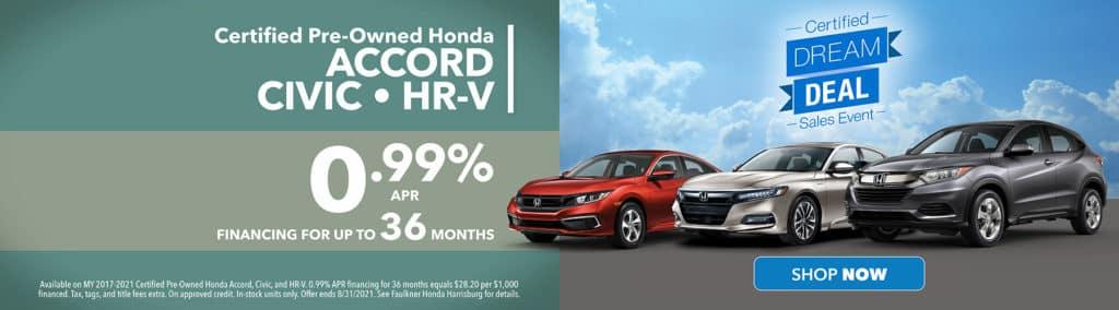 Financing on Certified Pre-owned Honda