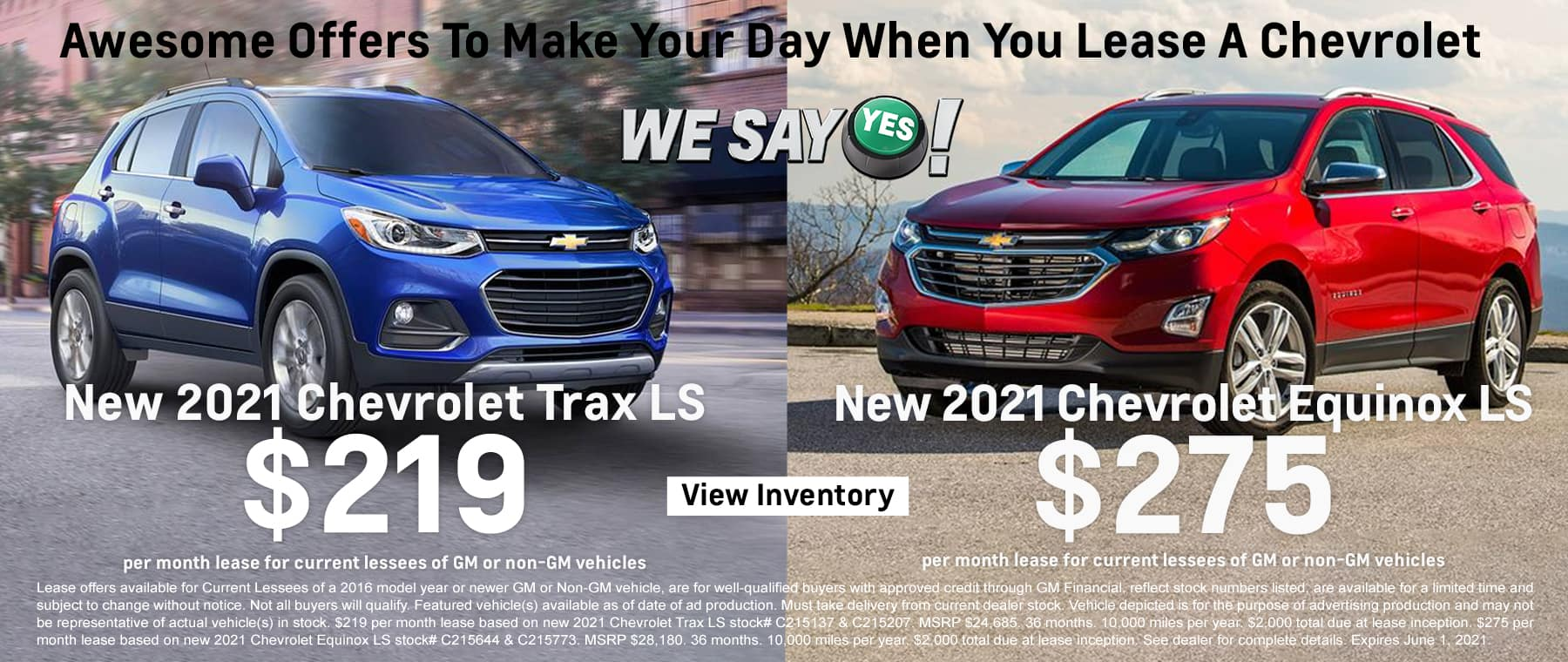 New 2021 Chevrolet Trax LS - $219 month lease | New 2021 Chevrolet Equinox LS - $275 month lease