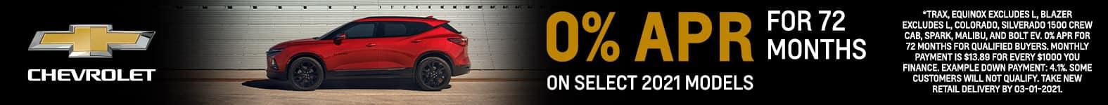 0% APR For 72 Months On Select 2021 Chevrolet Models - Fiesta Chevrolet in Edinburg, Texas