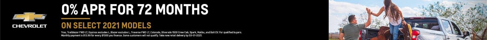 0% APR For 72 Months On Select 2021 Models - Fiesta Chevrolet in Edinburg, Texas
