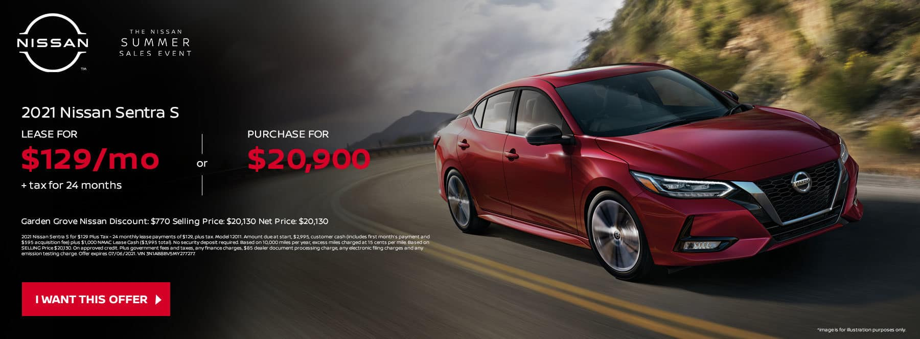 2021 Nissan Sentra S Subtext: LEASE FOR $129 Per Mo. + Tax for ONLY 24 months OR PURCHASE FOR