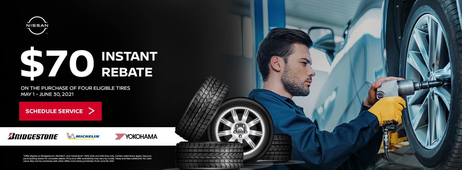 On the Purchase of Four Eligible Tires May 1 - June 30, 2021