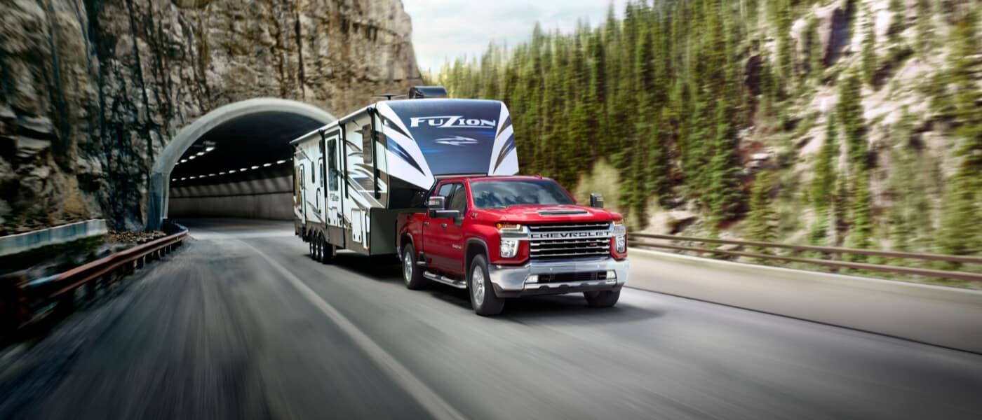 2020 Chevy Silverado 2500 HD towing a trailer
