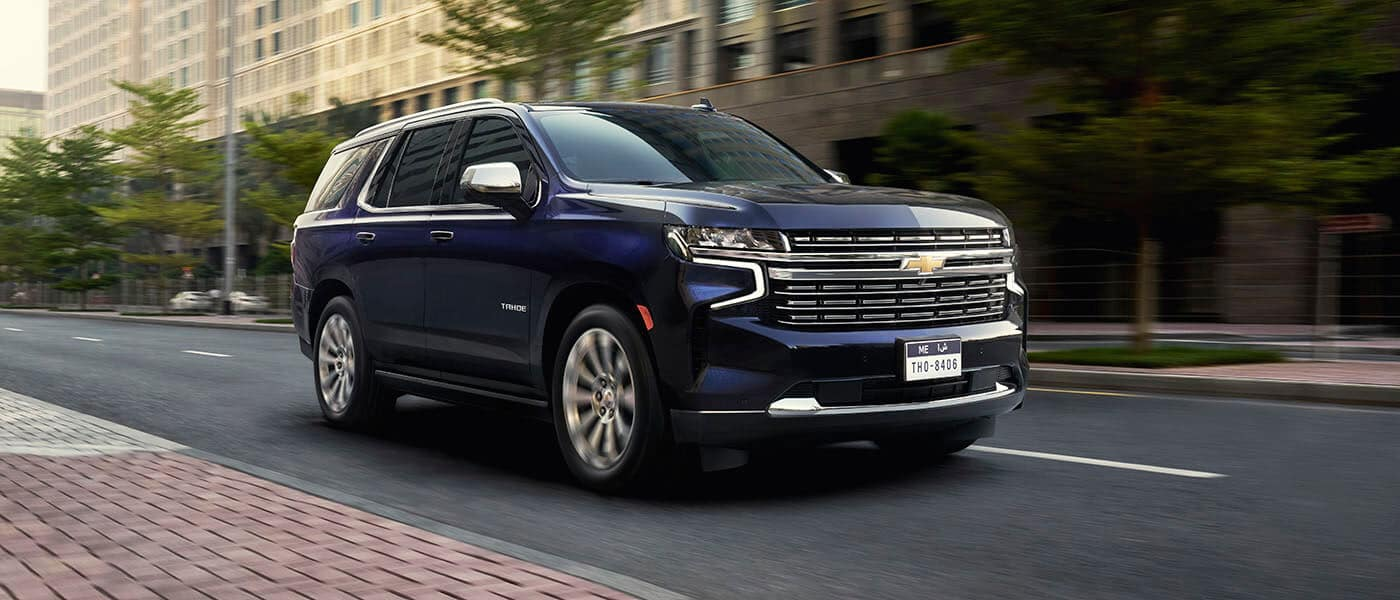 2021 Chevy Tahoe driving through a city