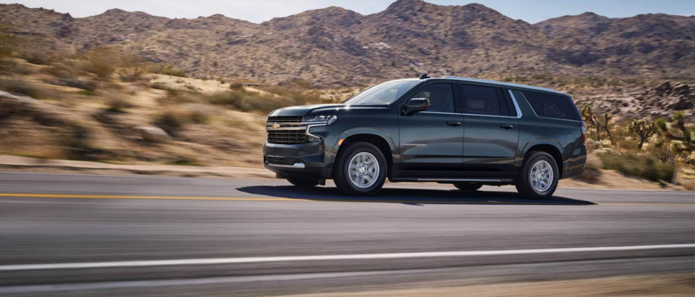 2021 Chevy Suburban driving in the desert