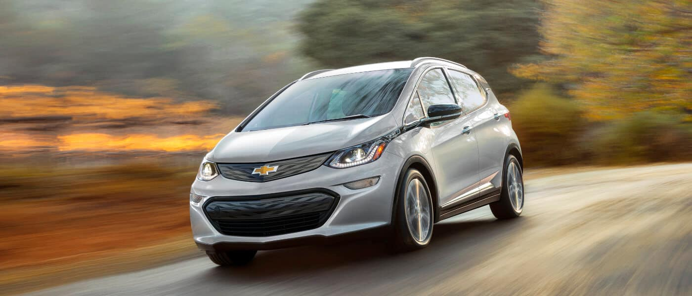 2021 Chevy Bolt EV driving on a road exterior
