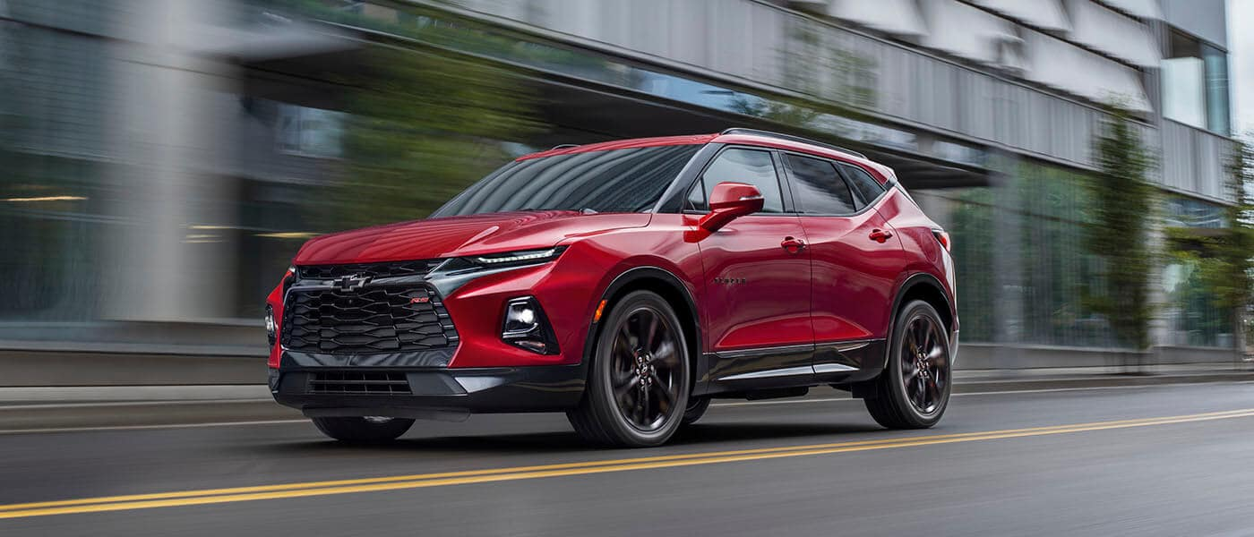 Red 2021 Chevy Blazer driving side exterior view