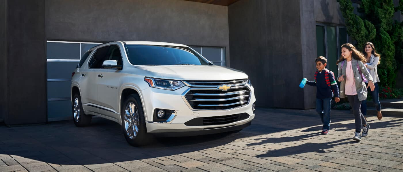 2021 Chevy Traverse parked outside a house