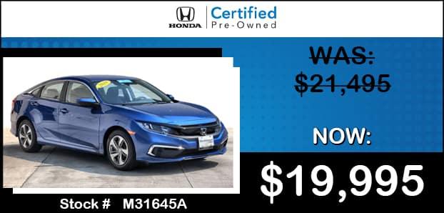 <center> Certified 2019 Honda Civic LX </center>