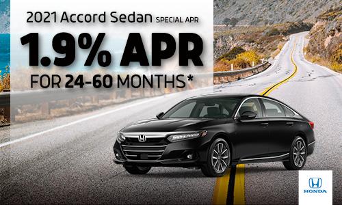 <center>1.9% APR available on 2021 Honda Accord Sedan</center>