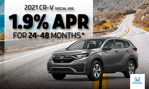 <center> 1.9% APR available on 2021 Honda CR-V</center>