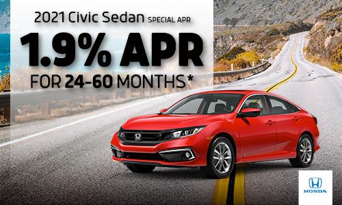 <center> 1.9% APR available on 2021 Honda Civic Sedan</center>