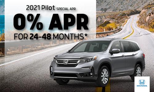 <center> 0% APR available on 2021 Honda Pilot </center>