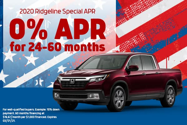 First Time Ever 2020 Ridgeline 0% APR!