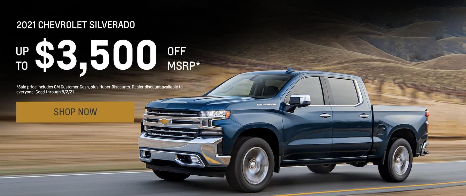 2021 Silverado 1500. Up to $3,500 off MSRP*