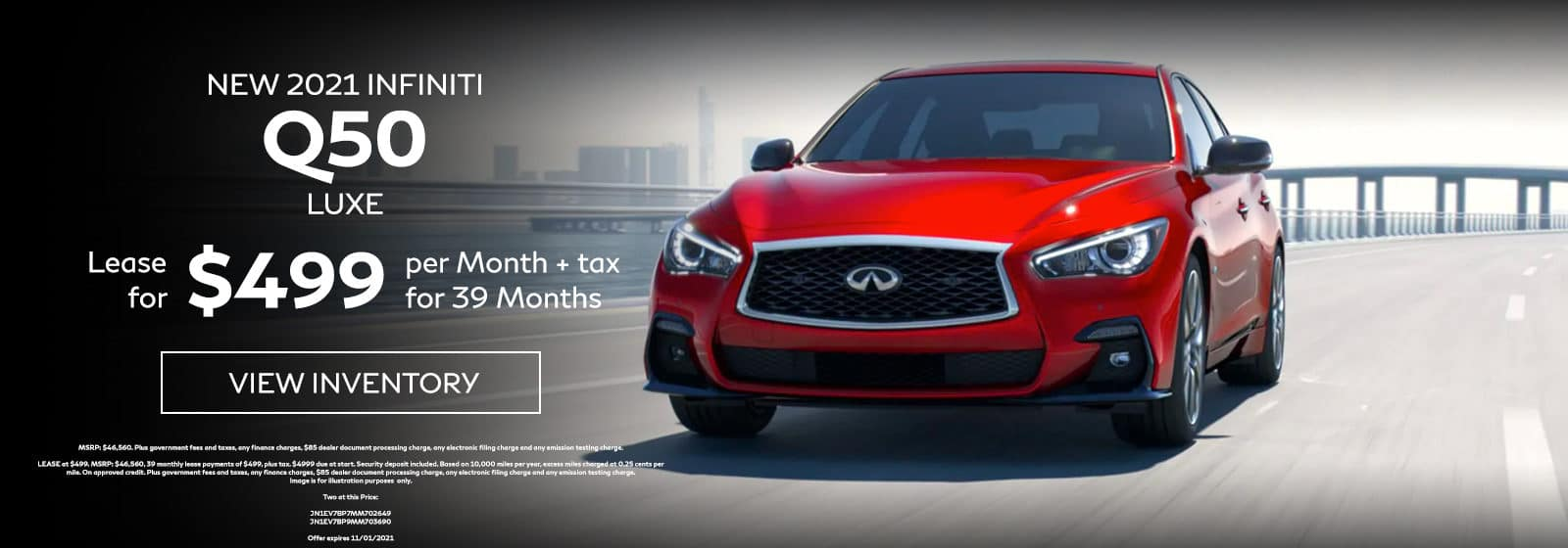 New 2021 INFINITI Q50 LUXE. Lease for $499 Per Month + Tax for 39 Months