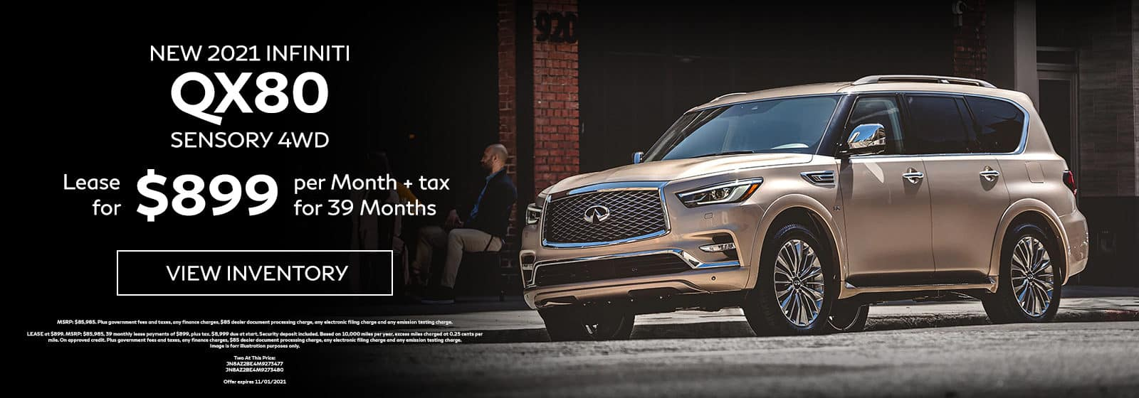 New 2021 INFINITI QX80 SENSORY 4WD. Lease for $899 Per Month + Tax for 39 Months