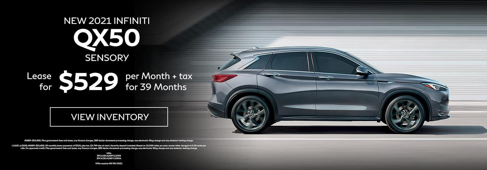 New 2021 INFINITI QX50 SENSORY Lease for $529 Per Month + Tax