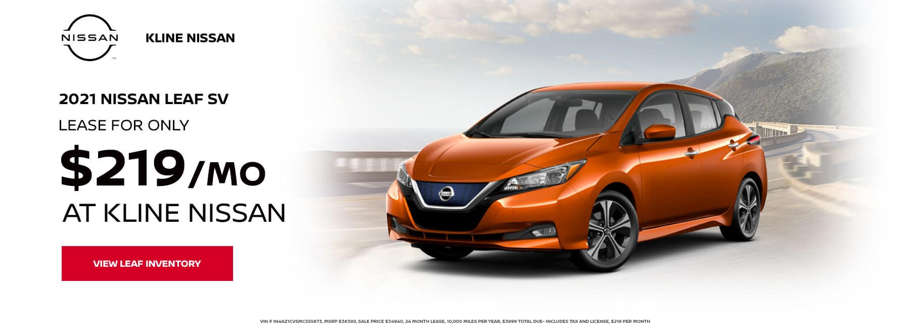 2021 Leaf SV, Lease for $219 Per month