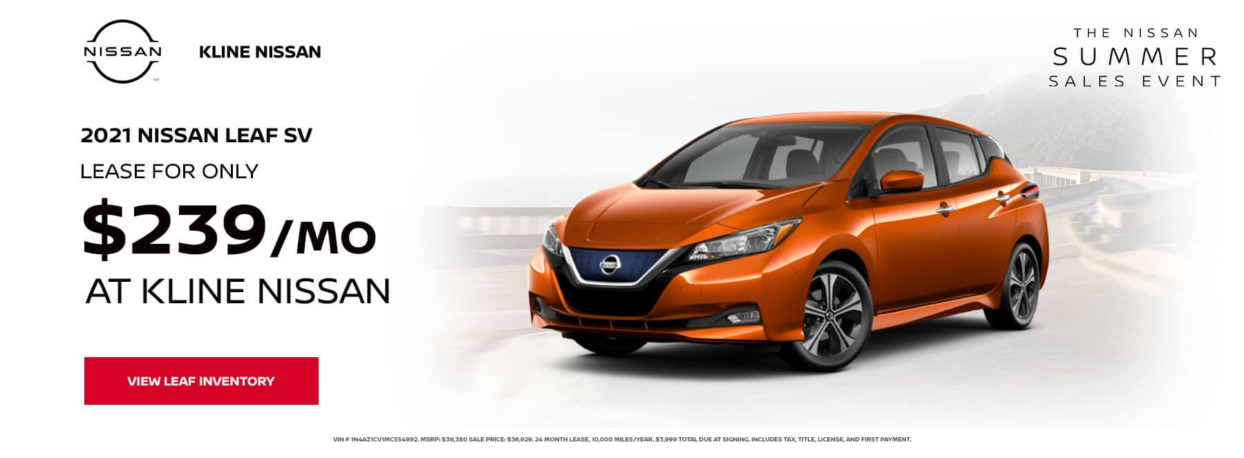 Lease a 2021 Nissan Leaf SV, for only $239/mo at Kline Nissan