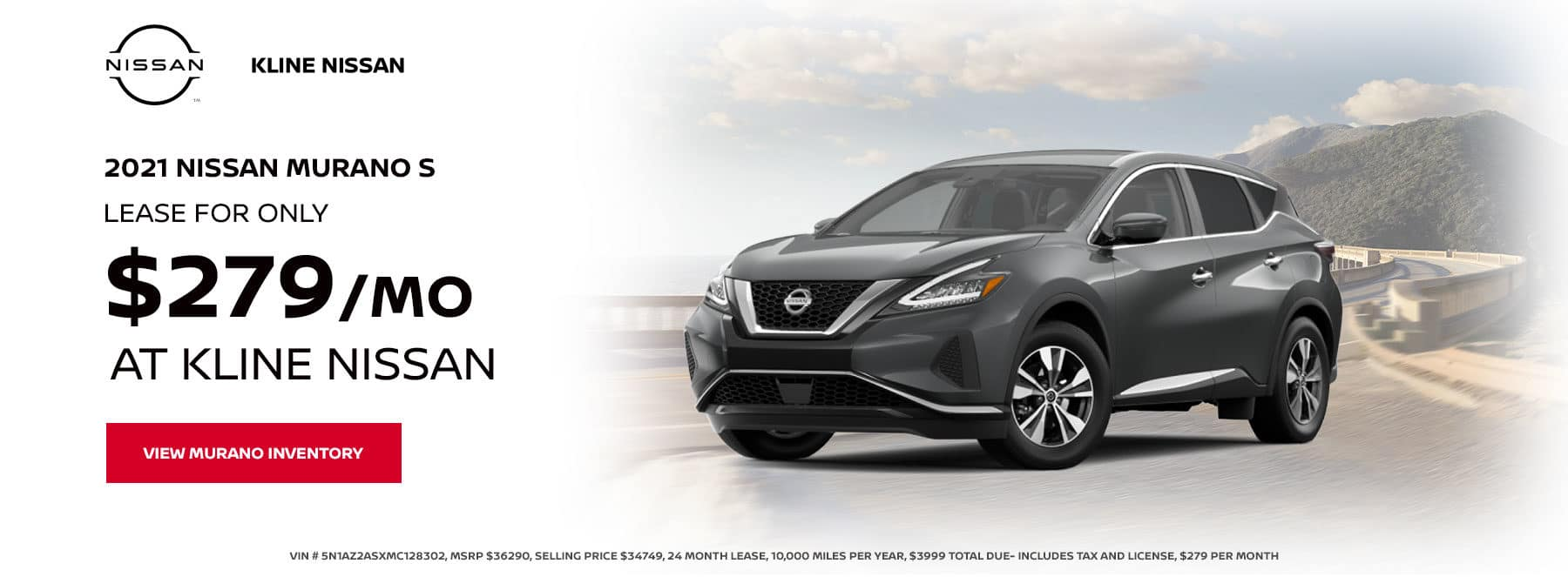 2021 Murano S, Lease for $279 per month