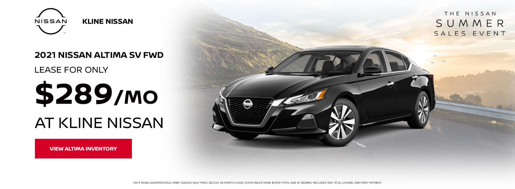 Lease a 2021 Nissan Altima SV AWD, for only $289/mo at Kline Nissan
