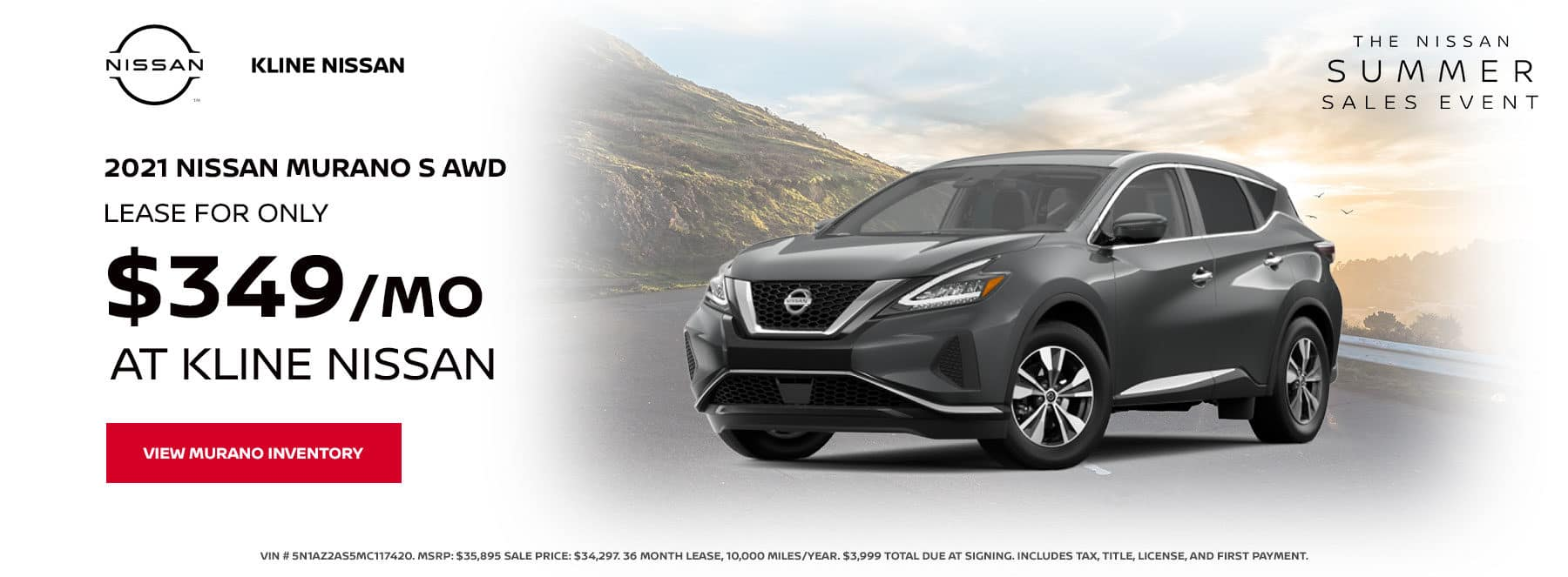 Lease a 2021 Nissan Murano S AWD, for only $349/mo at Kline Nissan