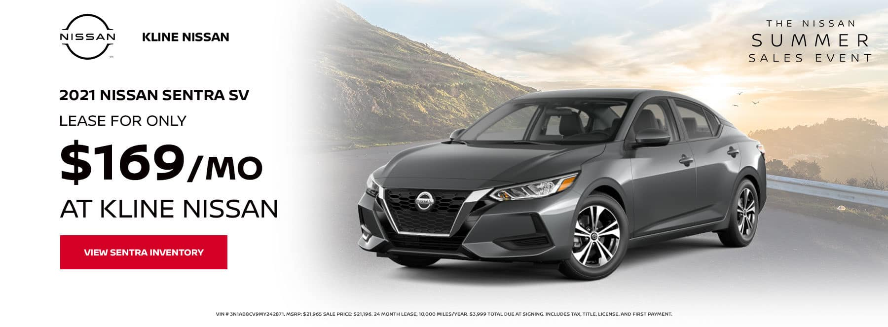 Lease a 2021 Nissan Sentra SV, for only $169/mo at Kline Nissan