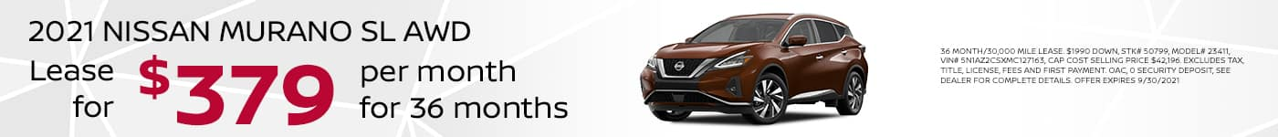 2021 NISSAN MURANO SL AWD $379/MONTH 36 MONTH LEASE