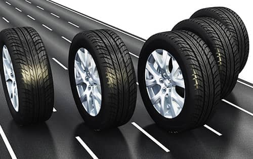 4 tires on road