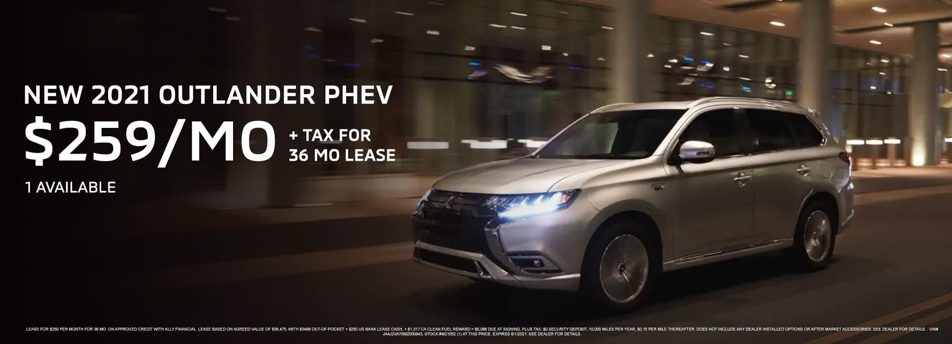 New 2021 OUTLANDER PHEV $259 per mo. + Tax for 36 mo Lease